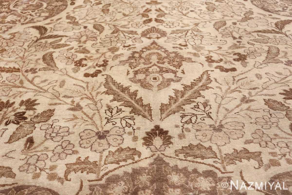 Large Oversized Antique Ivory Persian Tabriz Rug 47259 Patterns of Flowers Nazmiyal