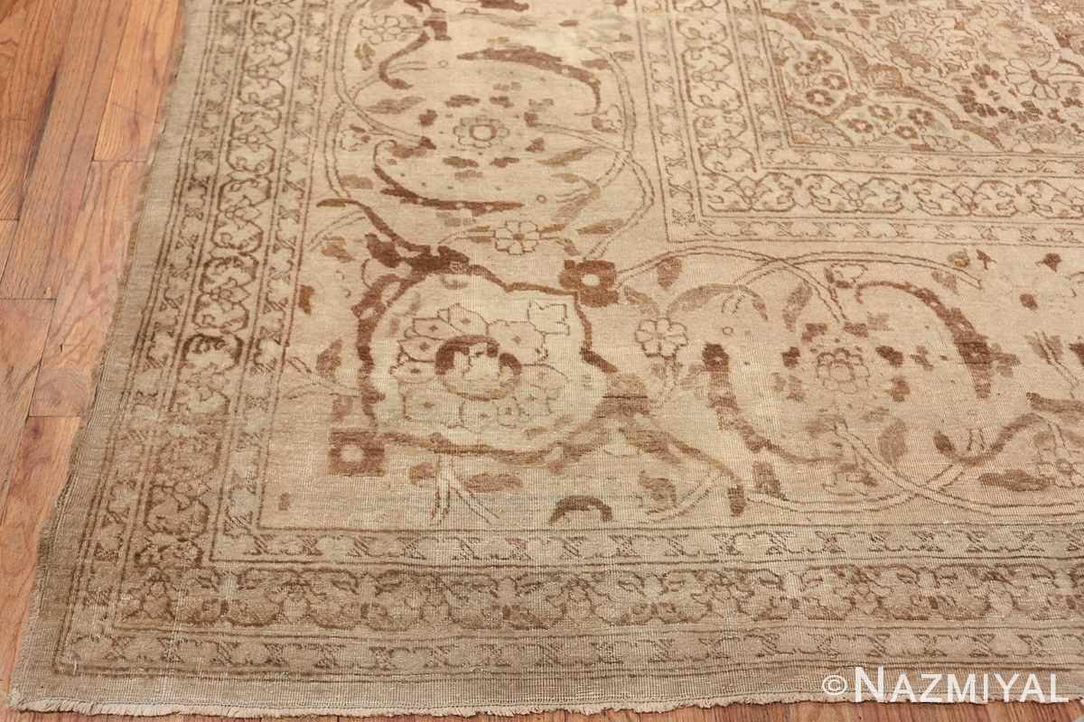 Large Oversized Antique Ivory Persian Tabriz Rug 47259 Side Corner Nazmiyal