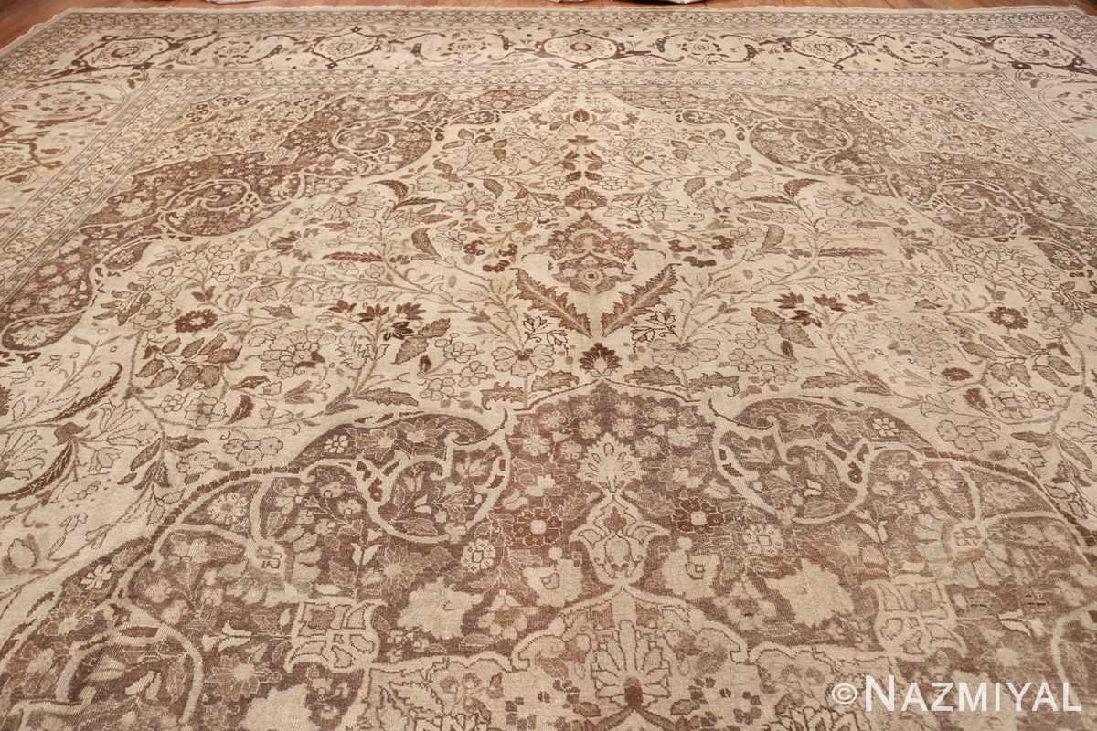Large Oversized Antique Ivory Persian Tabriz Rug 47259 Top Design Nazmiyal
