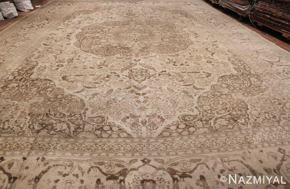 Large Oversized Antique Ivory Persian Tabriz Rug 47259 Whole Design Nazmiyal