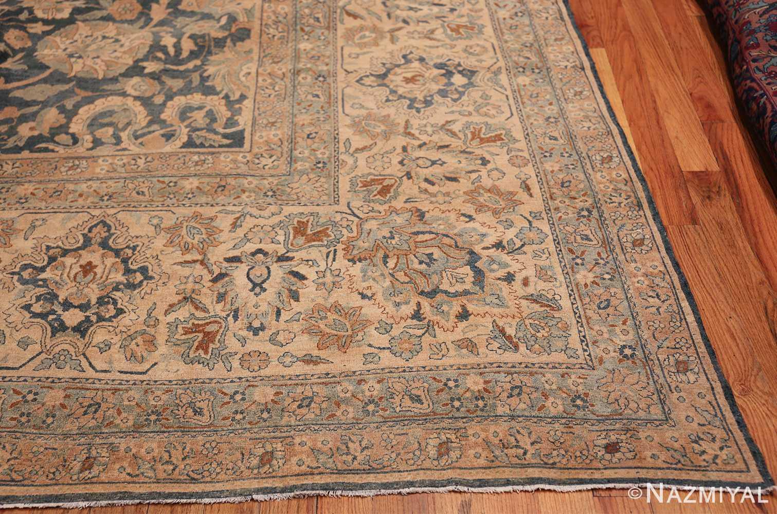 Large Oversized Blue Oriental Antique Persian Kerman Carpet 44142 Side Corner Nazmiyal