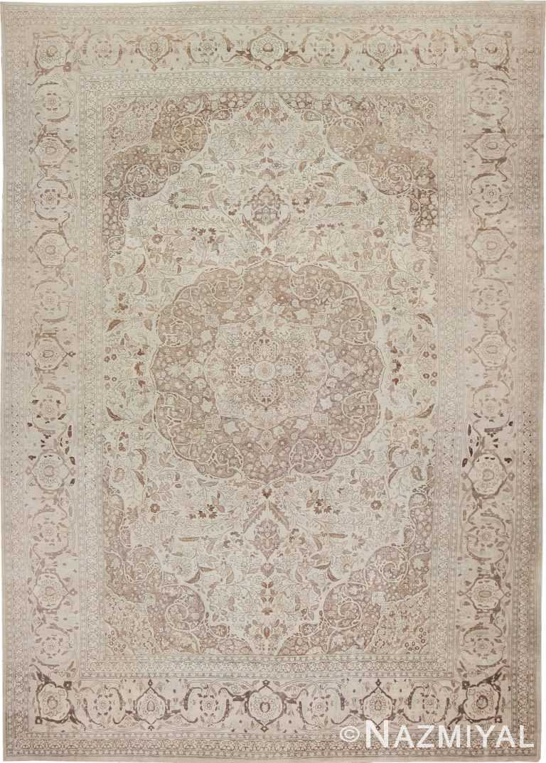 Large Oversized Ivory Background Persian Tabriz Carpet 47259 Nazmiyal