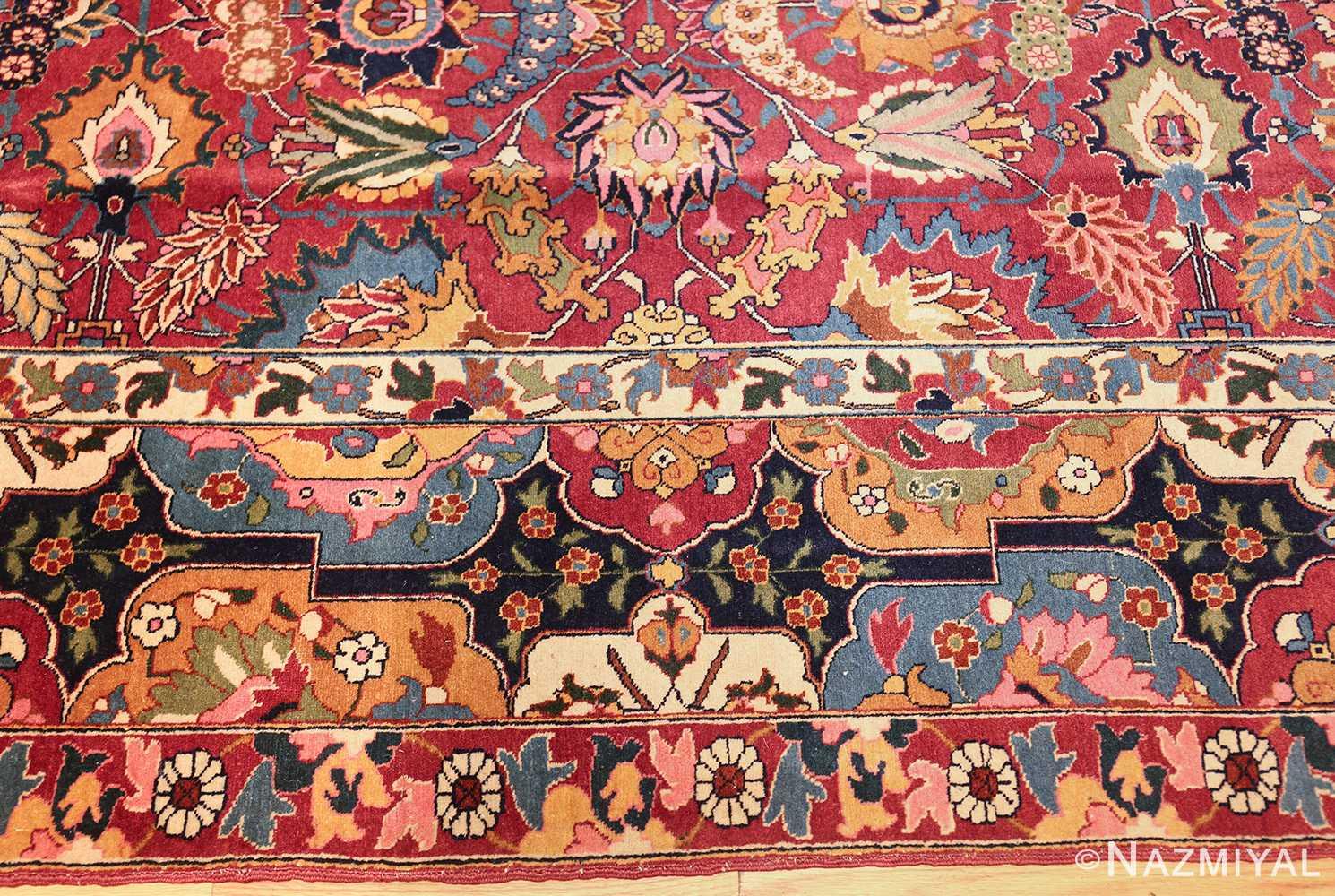 vintage persian tabriz sickle leaf rug 47474 border Nazmiyal