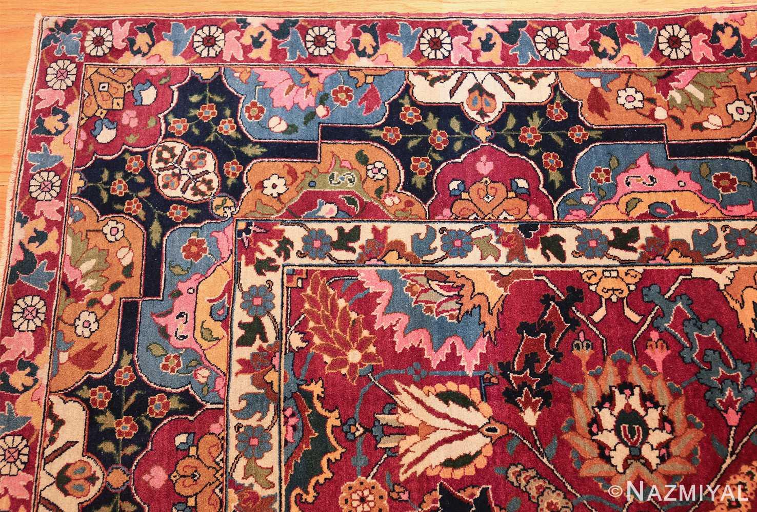 vintage persian tabriz sickle leaf rug 47474 part Nazmiyal