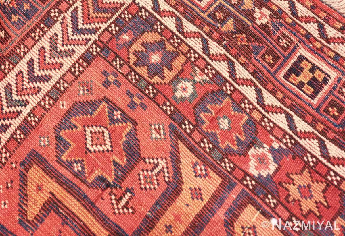 Weave detail Colorful Eagle Kazak design Antique Tribal Persian Kurdish rug 47471 by Nazmiyal