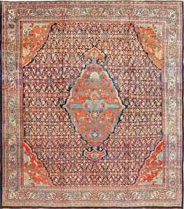Beautiful Antique Blue Background Persian Bidjar Rug 47590 Nazmiyal