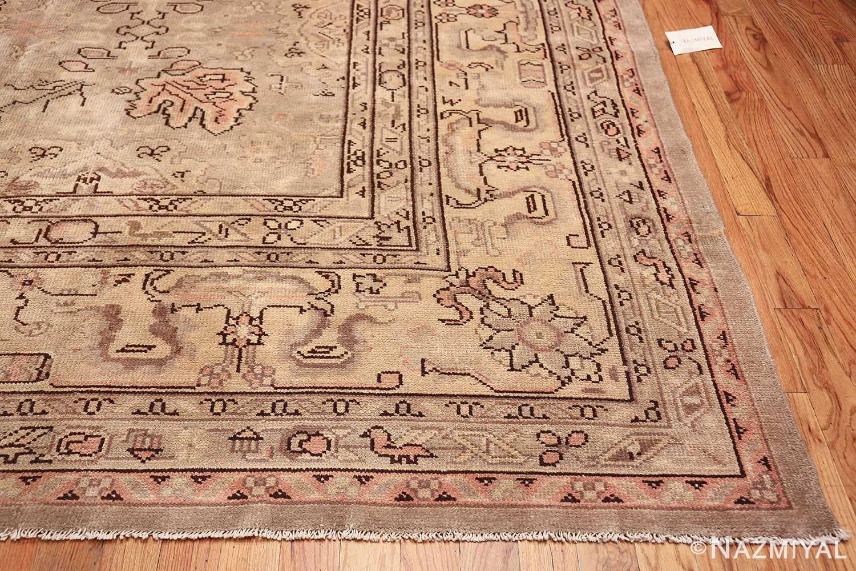 Antique Grey Turkish Oushak Carpet 47365 Side Corner Nazmiyal