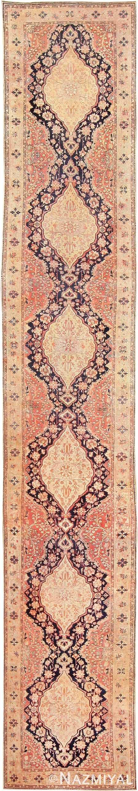 Antique Mohtashem Kashan Persian Runner 47499 Nazmiyal