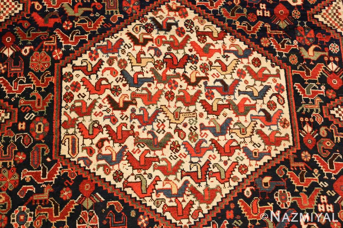 antique persian tribal afshar rug 47569 medallion Nazmiyal