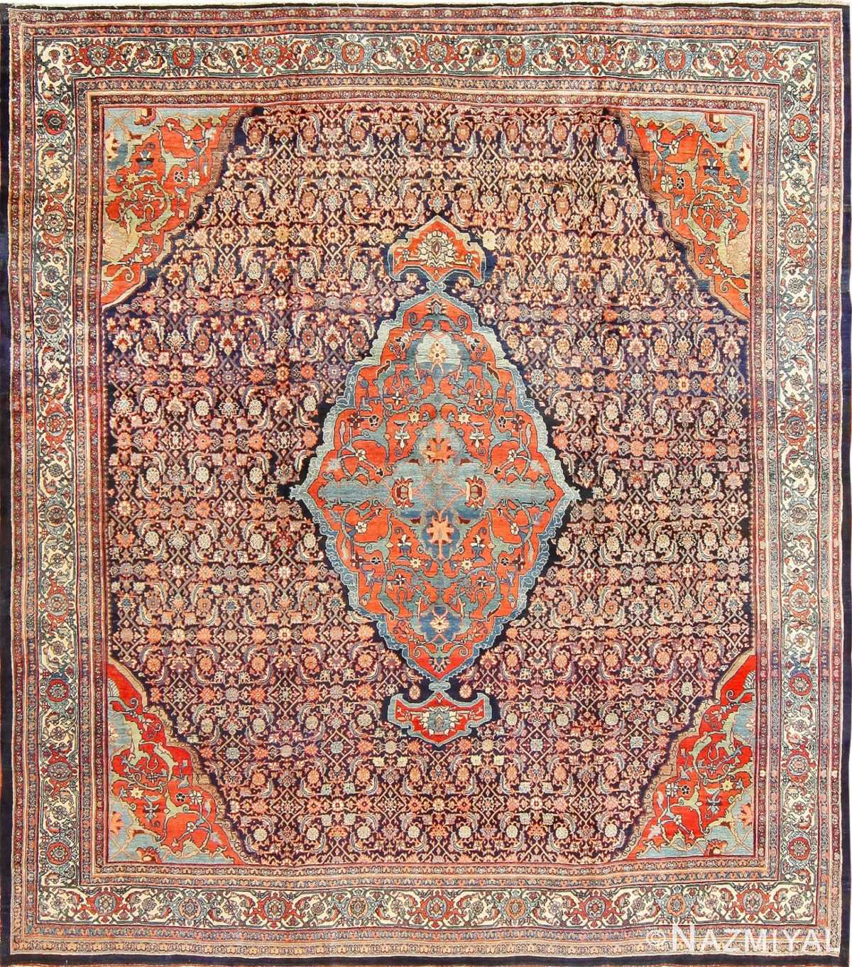 Beautiful Antique Blue Background Persian Bidjar Rug 47590 Nazmiyal