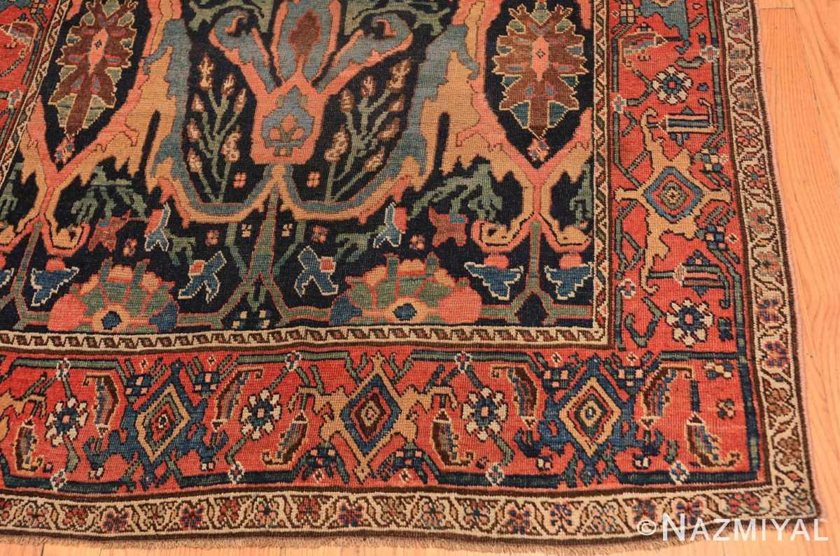 Corner Blue background Antique Persian Bidjar rug 47477 by Nazmiyal Antique Rugs NYC
