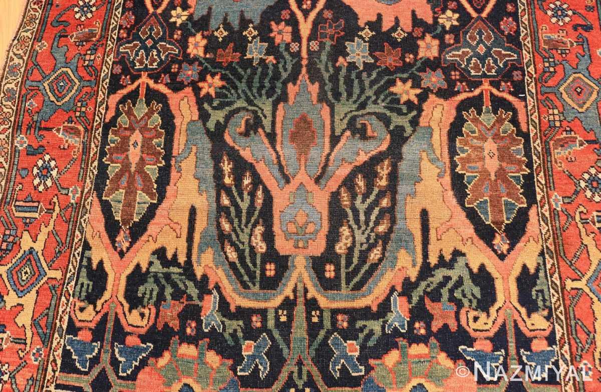 Detail Blue background Antique Persian Bidjar rug 47477 by Nazmiyal Antique Rugs NYC