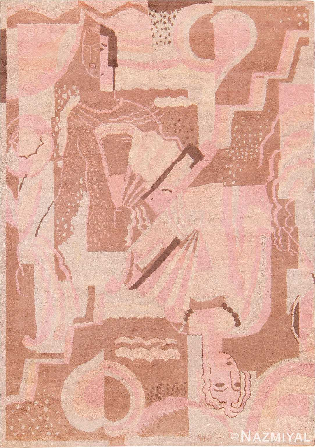 French Art Deco Carpet signed DM 47549 Nazmiyal