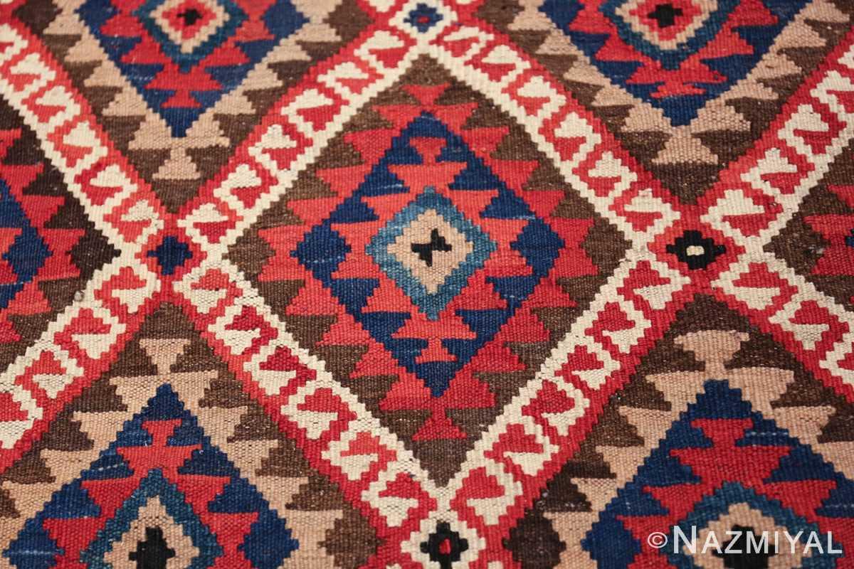 large tribal persian kilim vintage rug 47598 closeup Nazmiyal
