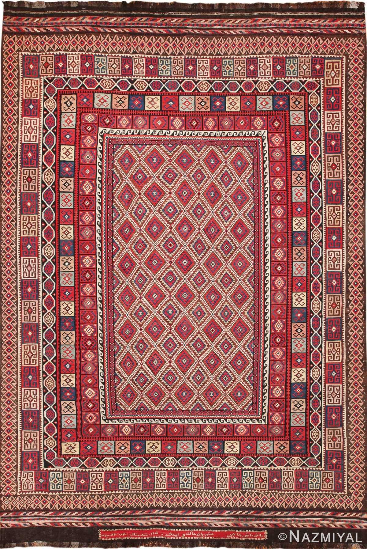 large tribal persian kilim vintage rug 47598 Nazmiyal