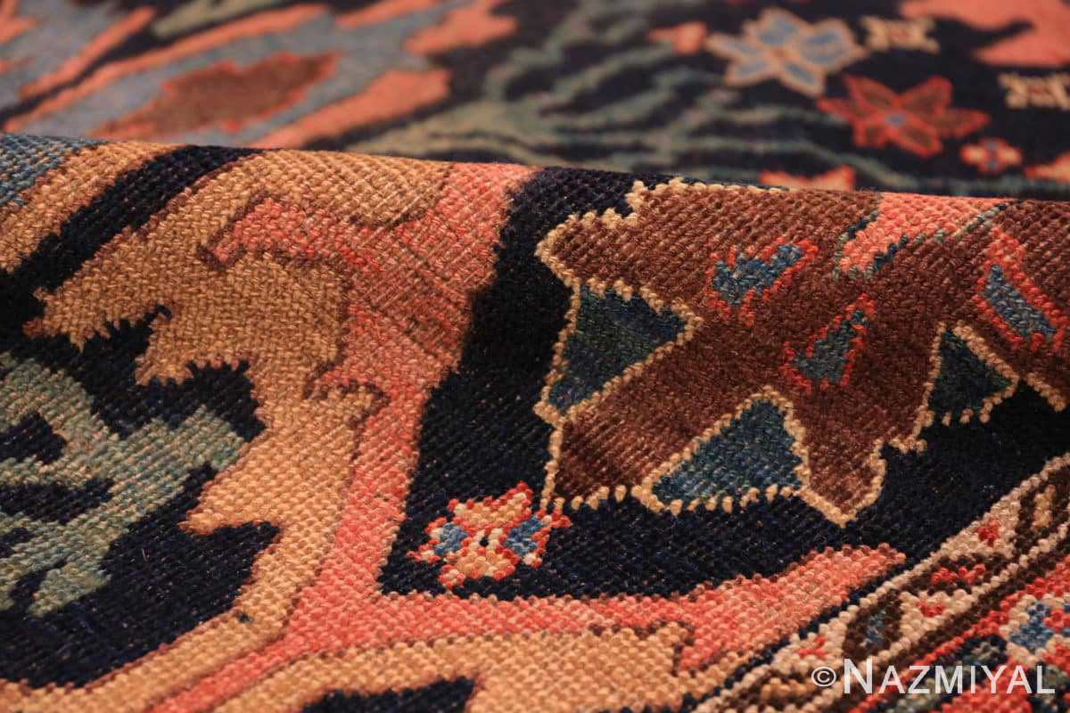 Pile Blue background Antique Persian Bidjar rug 47477 by Nazmiyal Antique Rugs NYC