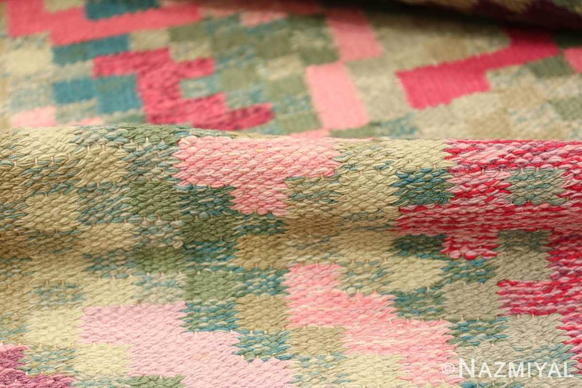 Vintage Swedish Runner Rug Signed Bice 47575 Geometric Pile Nazmiyal
