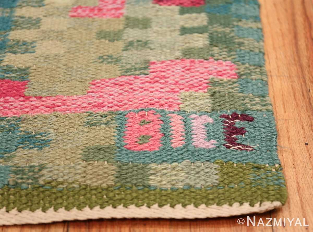 Vintage Swedish Runner Rug Signed Bice 47575 Signature Initials Nazmiyal
