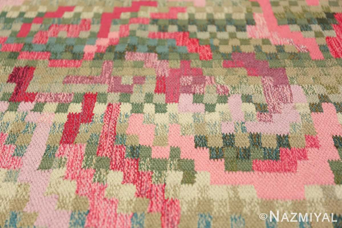 Vintage Swedish Runner Rug Signed Bice 47575 Squared Flowers Nazmiyal