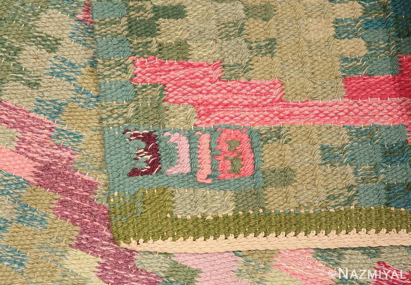 Vintage Swedish Runner Rug Signed Bice 47575 Woven Knots Nazmiyal