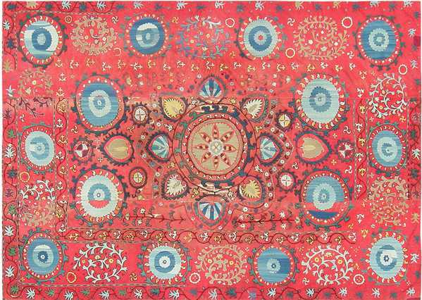 Antique Uzbek Suzani Embroidery as Textile Art by Namziyal