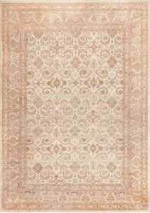 Ivory Background Antique Indian Amritsar Rug 47438 Nazmiyal