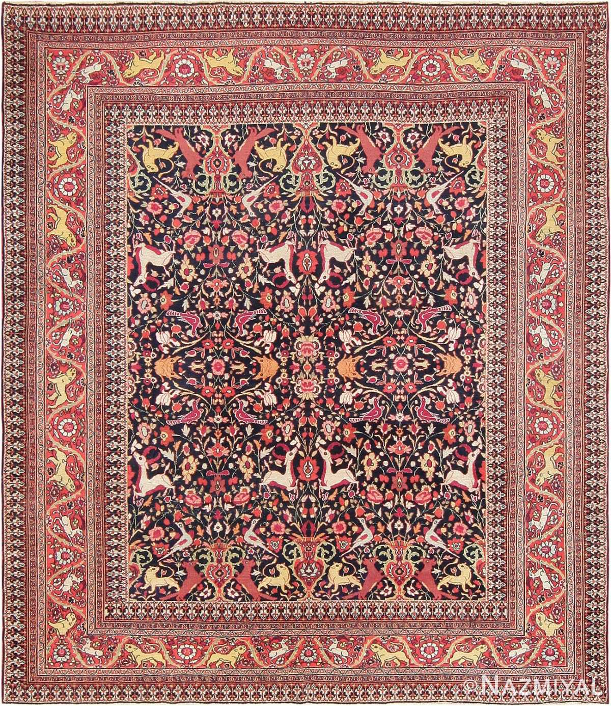 Animal Motif Antique Persian Khorassan Rug 47605 Nazmiyal