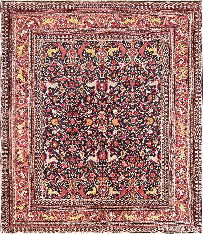 Animal Motif Antique Persian Khorassan Rug 47605 Nazmiyal