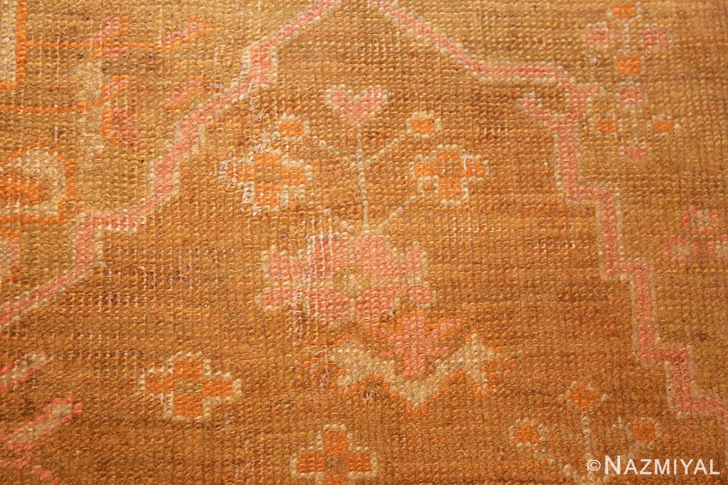 antique green turkish oushak rug 50718 flower Nazmiyal