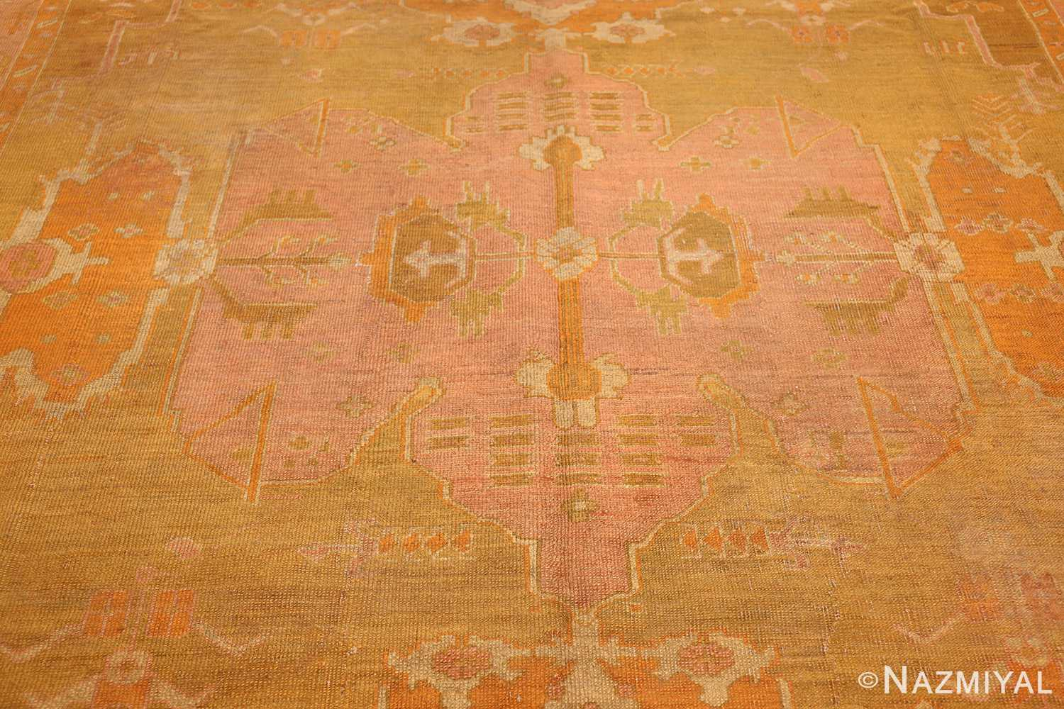 antique green turkish oushak rug 50718 medallion Nazmiyal