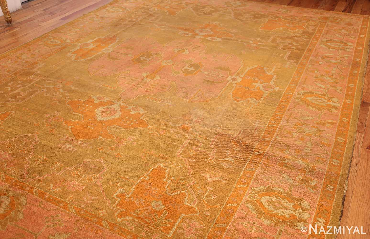 antique green turkish oushak rug 50718 side Nazmiyal