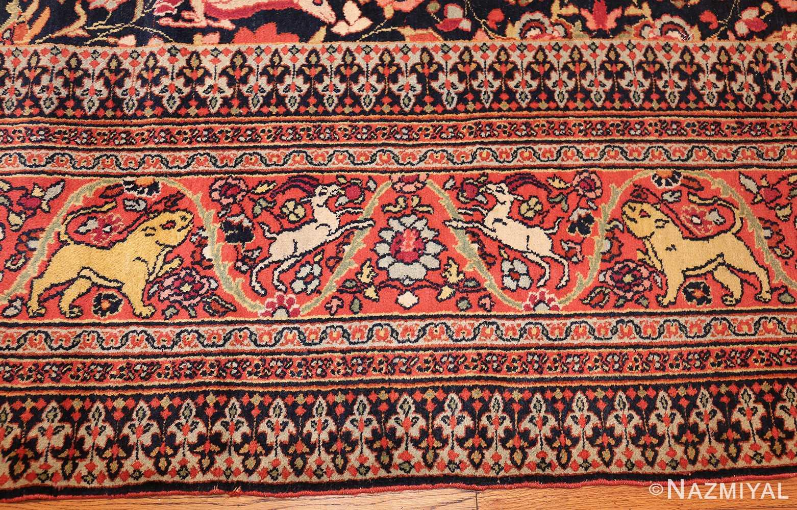 antique persian khorassan animal motif rug 47605 border Nazmiyal