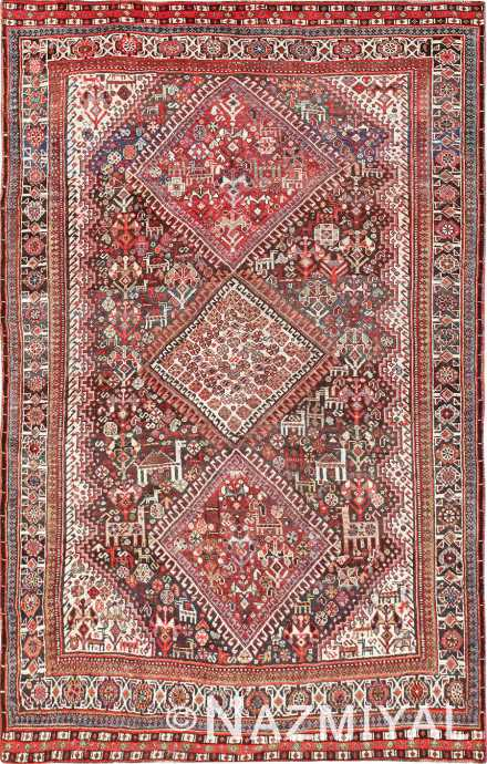 Small Antique Tribal Persian Afshar Area Rug #47576 by Nazmiyal Antique Rugs