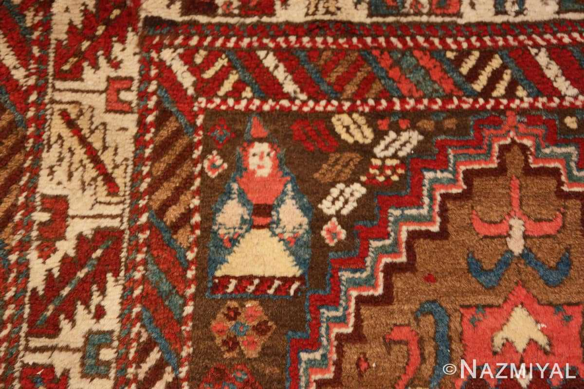 Detail Tribal Antique Caucasian Kazak runner rug 47653 by Nazmiyal