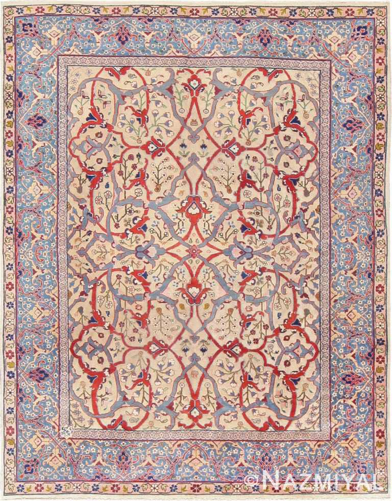 Cream Color Antique Room Size Persian Tabriz Area Rug #47432 by Nazmiyal Antique Rugs