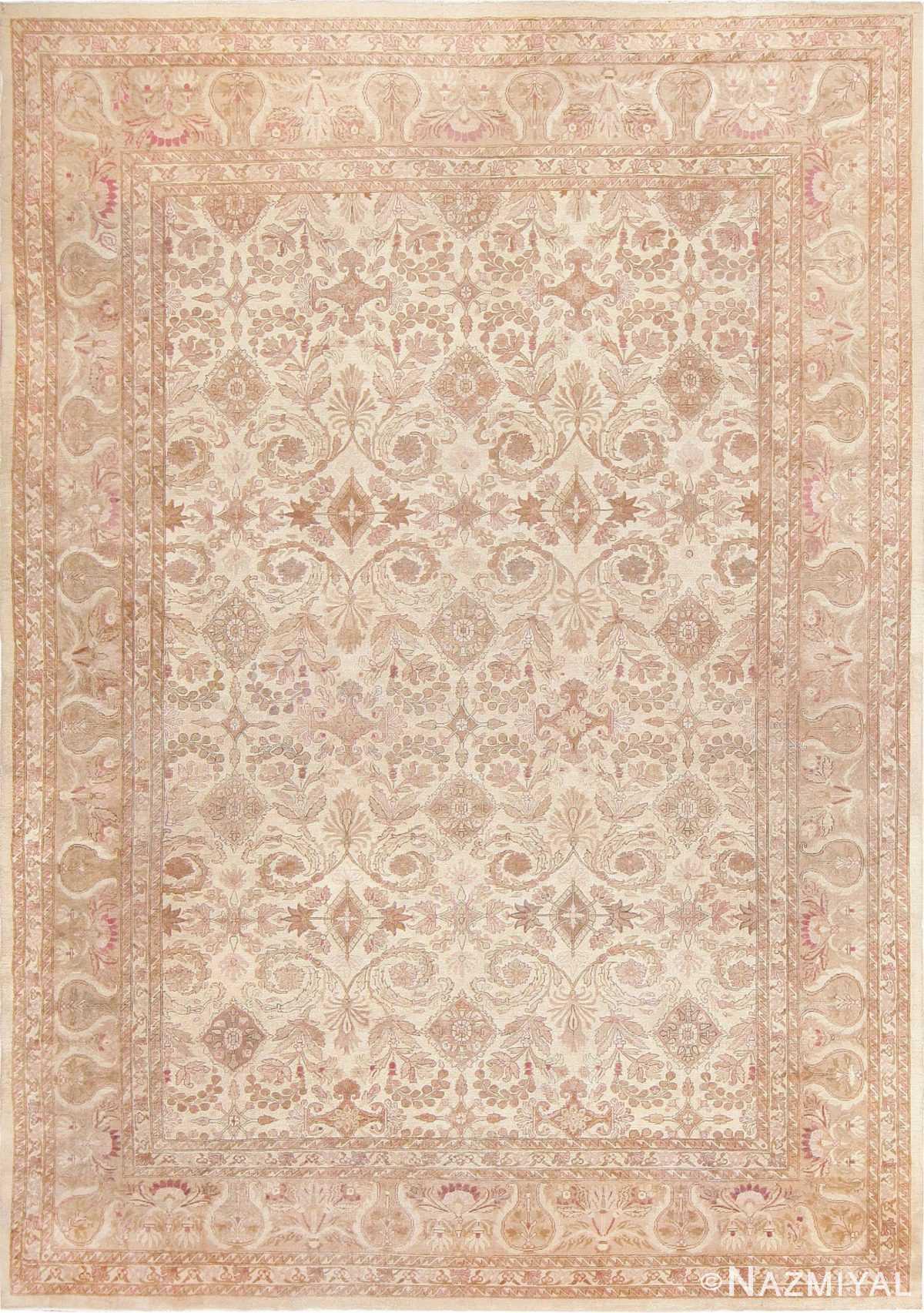 Ivory Background Antique Indian Amritsar Rug 47438 Nazmiyal