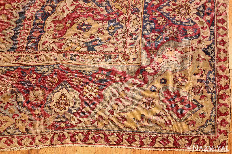 large antique 17th century mughal gallery carpet 47597 corner Nazmiyal