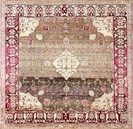 Breathtaking Rare Antique Silk Agra Rug 47596 Detail/Large View