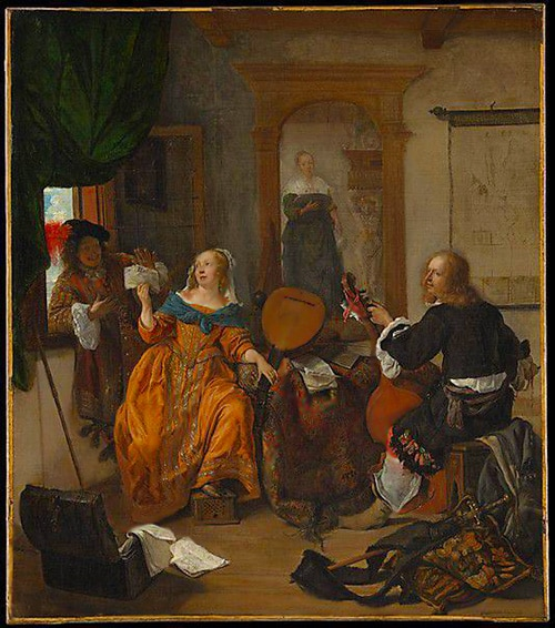 Eastern Carpets in Painting by Dutch Painter Gabriel Metsu by Nazmiyal