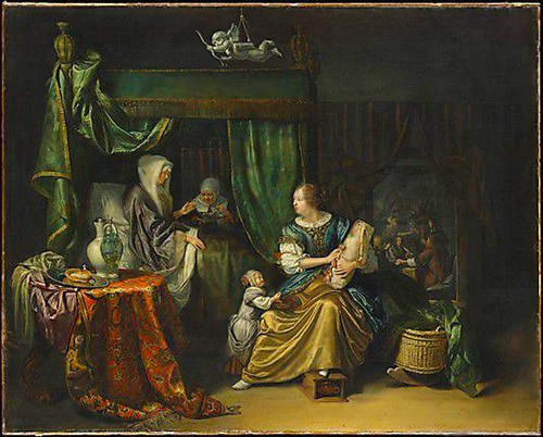 Eastern Rug in The Newborn Baby Painting By Dutch Painter Matthijs Naiveu by Nazmiyal
