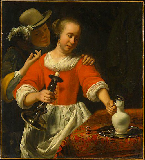 Eastern Carpets In Young Woman and A Cavalier Painting by Dutch Painter Cornelis Bisschop
