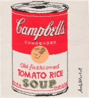 Vintage Andy Warhol Campbell Soup Rug 47694 Color Detail - By Nazmiyal