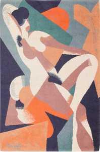 Vintage Scandinavian Carpet Nude Woman by Magritta 47671 Nazmiyal