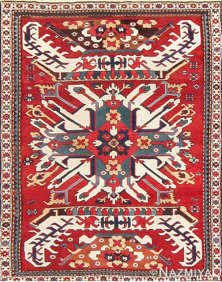 Antique Caucasian Chelaberd Eagle Kazak Rug 47607 Detail/Large View
