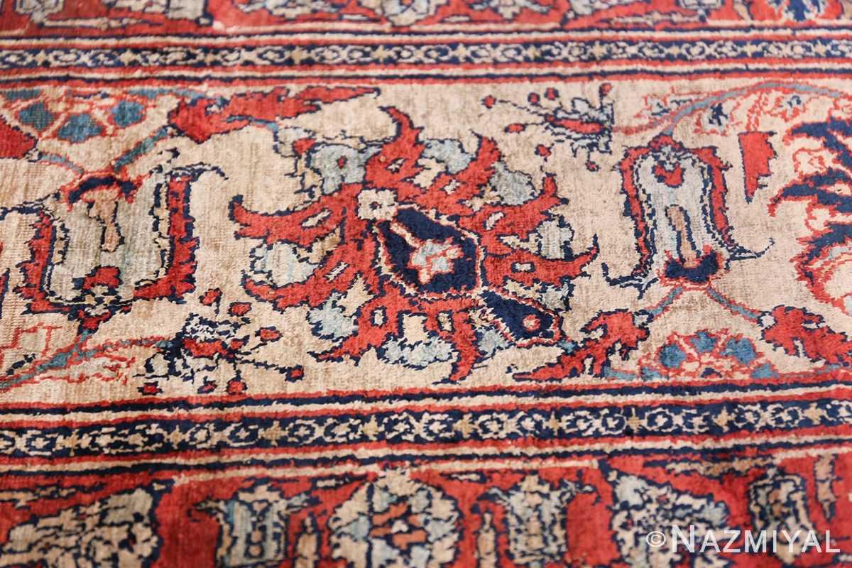 Antique Persian Silk Heriz Carpet 47239 Border Design Nazmiyal