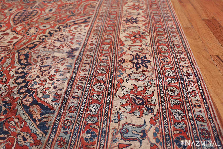 Antique Persian Silk Heriz Carpet 47239 Border Lines Nazmiyal