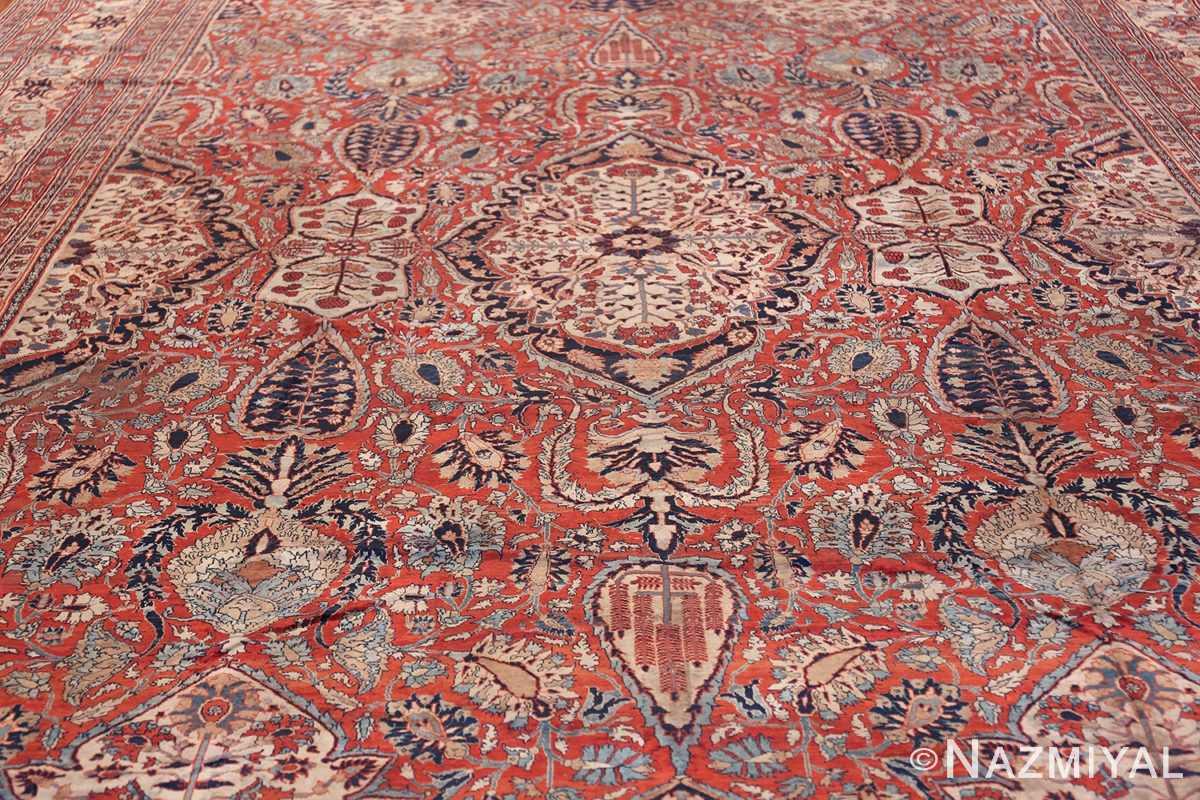 Antique Persian Silk Heriz Carpet 47239 Field Wide Shot Nazmiyal