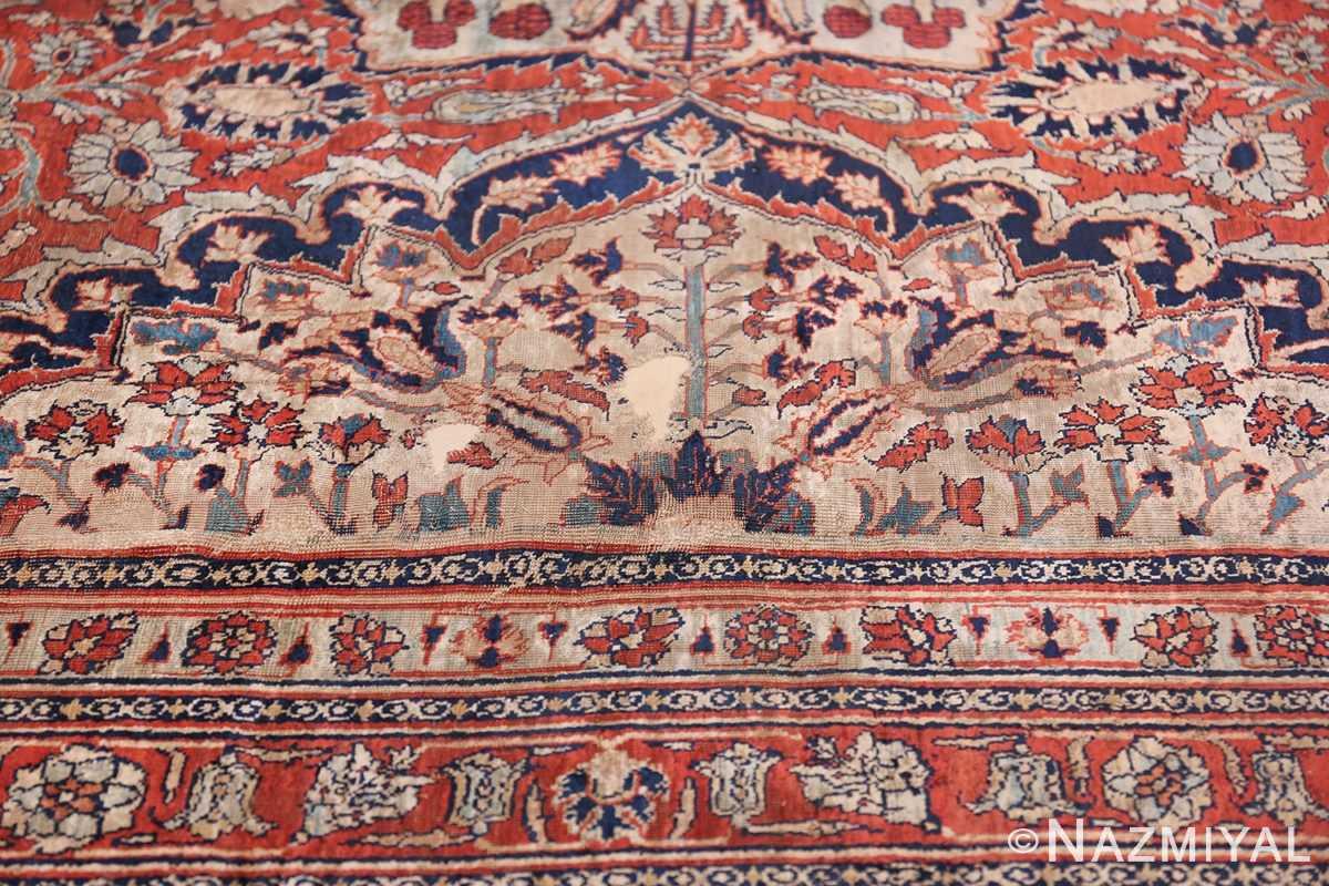 Antique Persian Silk Heriz Carpet 47239 Reinforced Part Nazmiyal