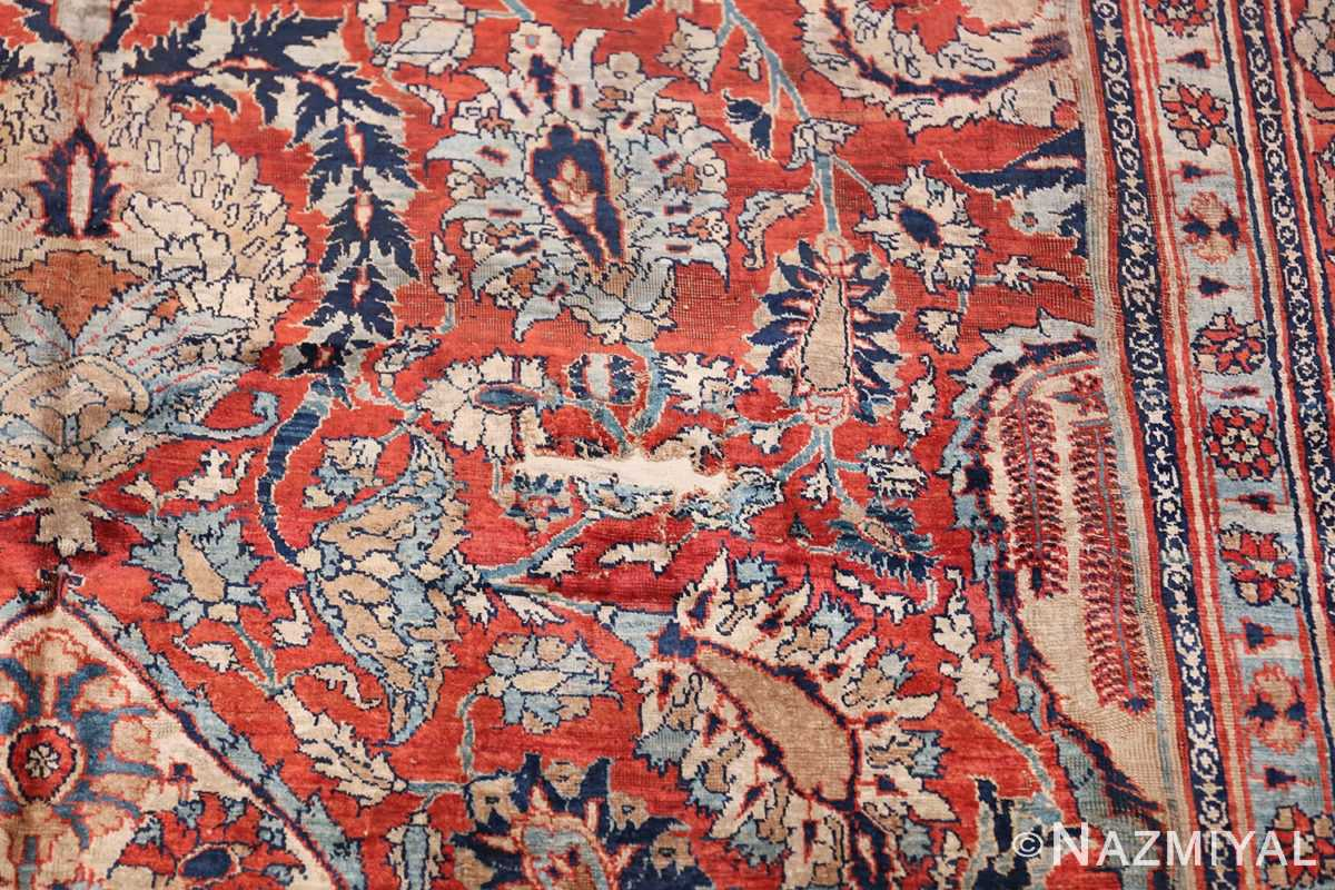 Antique Persian Silk Heriz Carpet 47239 Reinforced Scrolls Nazmiyal