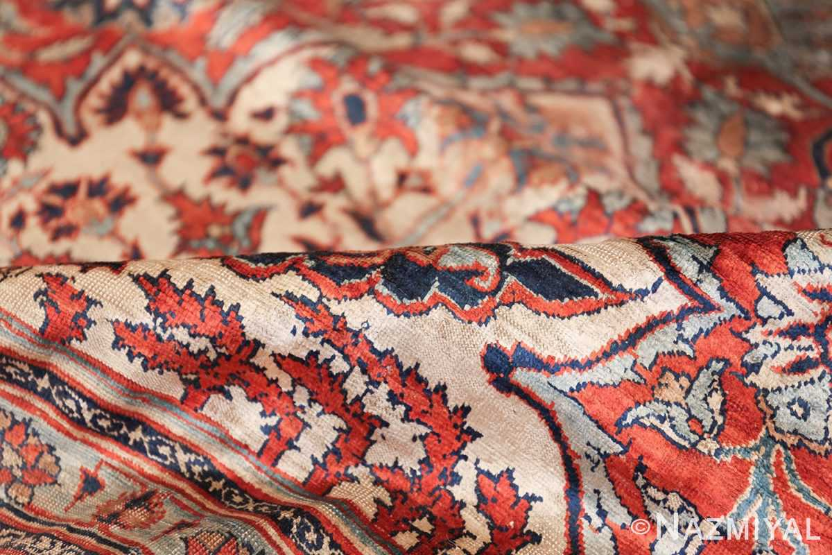 Antique Persian Silk Heriz Carpet 47239 Shiny Pile Nazmiyal